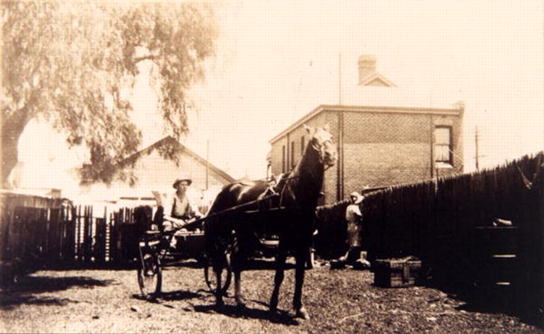Horse and cart belonging to F.W. Smith Family Butcher Vine Street North Perth