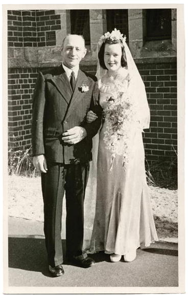 Ronald Gill and his daughter Dawn on her wedding day, 1949