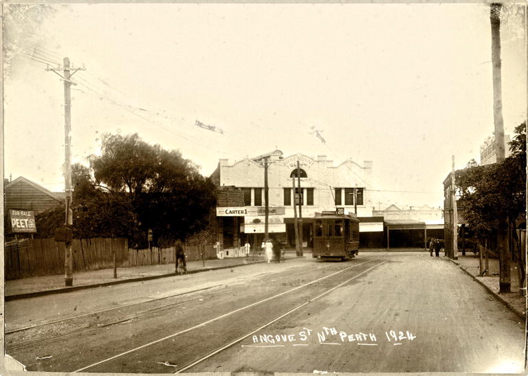 Tram at junction of Fitzgerald and Angove Streets North Perth